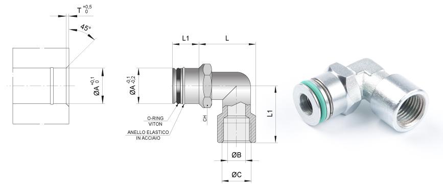 Desenho técnico da conexão rápida para ponte
