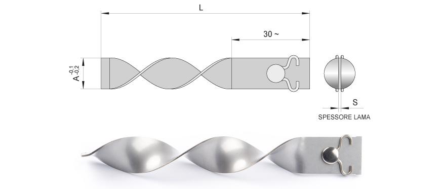Desenho técnico da palheta espiral