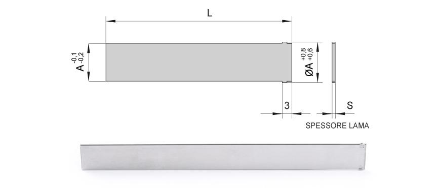Desenho técnico da Palheta reta interna sem mola