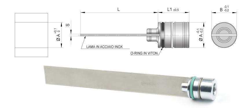 Desenho técnico da palheta interna reta